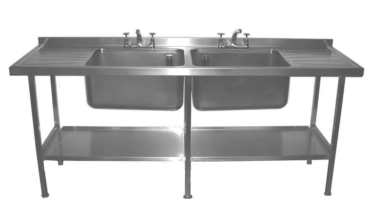 Stainless steel sink units stainless steel double drainer sink - We Manufacture A Full Range Of Catering Equipment From Both Grade 304 And 316 Grade Stainless Steel 304 For Normal Temperatures And Low Acid